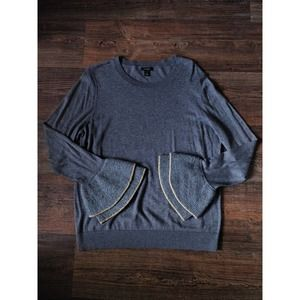 Halogen Gray Wool Bell Sleeve Pullover Sweater 1X